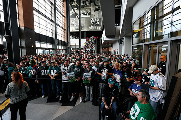 Crowd of Philadelphia Eagles at Unveiling.
