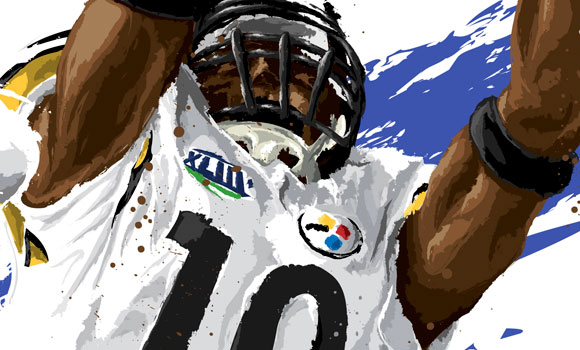 Super Bowl XLIII MVP Santonio Holmes [Detail] by David E. Wilkinson