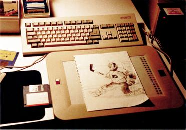 My desk 1988 (Amiga 200HD with EasyL tablet)